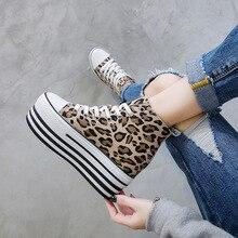 Zapatillas de deporte sexis con estampado de leopardo para mujer, zapatos de lona de ocio con cordones, Zapatillas altas, cestas para mujer, N8-42