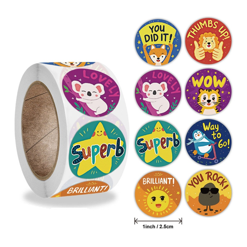 Pegatinas de recompensa para profesores, pegatina para juguetes, 8 Diseños de animales,...