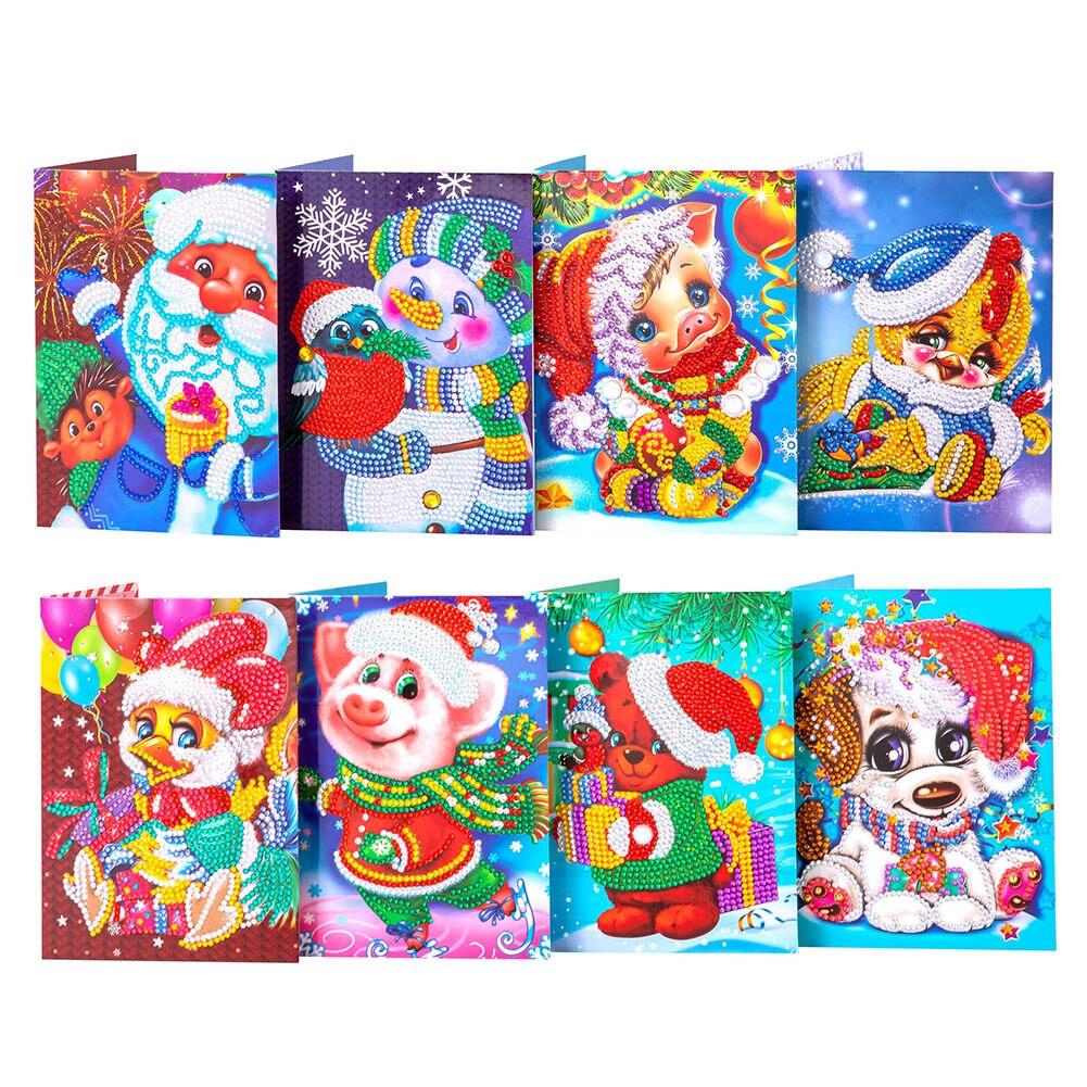 8 Uds 5D pieza de dibujos animados taladro redondo diamante pintura punto de cruz tarjetas postales Festival sobres de navidad tarjetas de felicitación