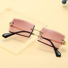 2021 Fashion Sunglasses Women Brand Designer Rimless Gradient Sun Glasses Shades Cutting Lens Ladies