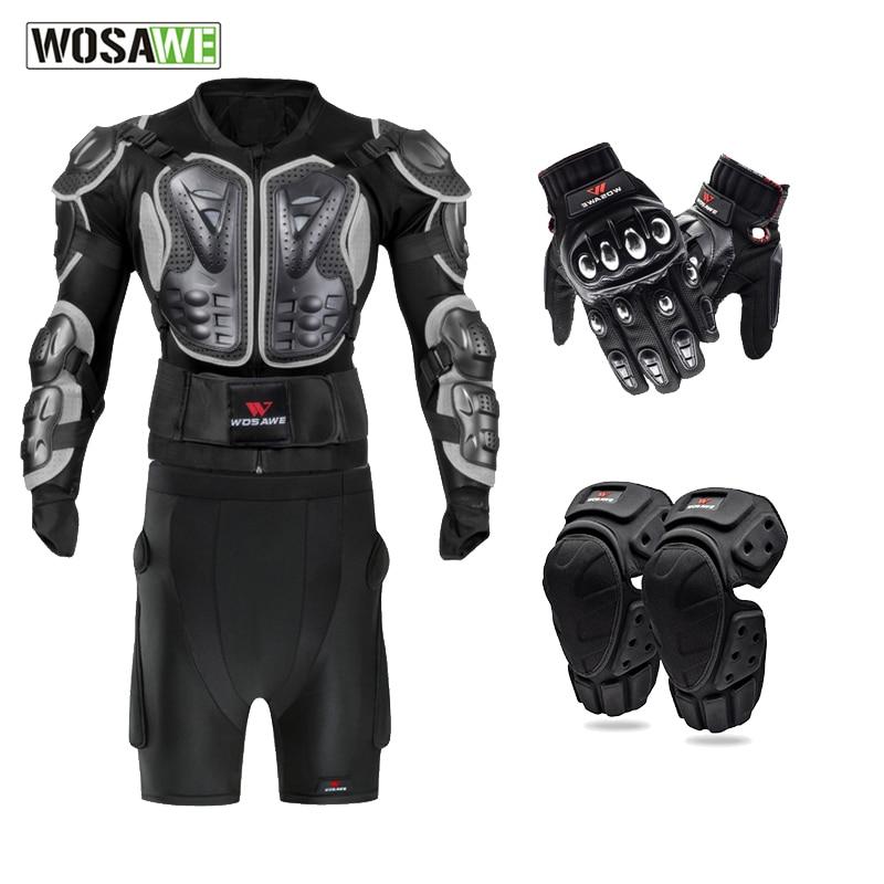 WOSAWE Motorcycle Jacket Short Pants Kneepads Gloves Motocross protector Gear Off road MTB Clothing Racing Hip protector