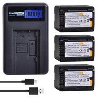 1Pcs 3900mAh VW-VBT380 VBT380 VW-VBT190 VBT190 Battery + LCD USB Charger for Panasonic HC-VXF999 HC-VXF990 HC-VX870 HC-VX989