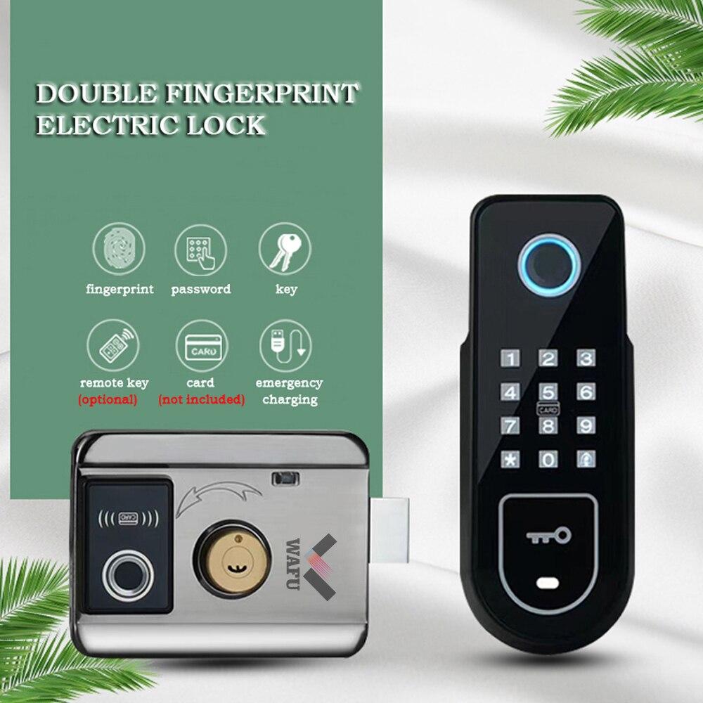 WAFU Double Fingerprint Electronic Door Lock with Password for Home Courtyard Hotel Smart Remote Control Lock eseye smart remote control electronic controller remote control unlock for door lock glass door lock