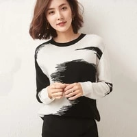 womens pullover 2021 winter casual stitching round neck wool sweater plus size knitted cashmere sweater ladies top hot