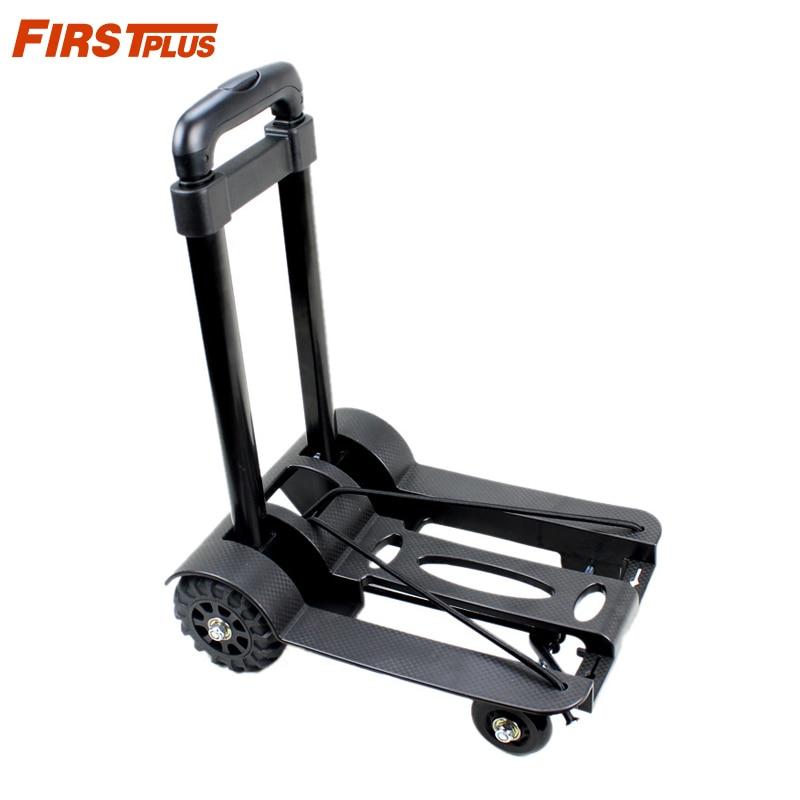 Car Roll Luggage Cart Portable Luggage Trolley Folding Hand Truck Mute Flat Heavy Duty 4-wheel Foldable Shopping Cart