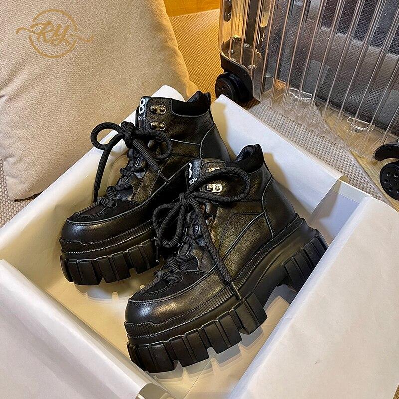 RY-RELAA أحذية نسائية أوروبية جلد طبيعي أحذية أنيقة للنساء أحذية رياضية vans 2021 جديد الخريف منصة أحذية رياضية ins المد