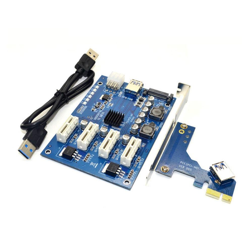 PCI-E X1 إلى 4PCI-E X16 مجموعة التوسع 1 إلى 4 منفذ PCI اكسبرس التبديل مضاعف محور 6pin Sata USB الناهض بطاقة للتعدين BTC التعدين