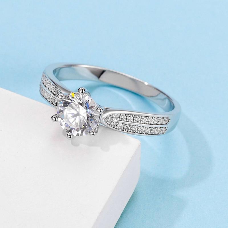 فاخر 925 خاتم فضة مويسانيتي الدائري 6 مخالب نمط خاص خاتم للذكرى 1ct جولة قطع ممتازة