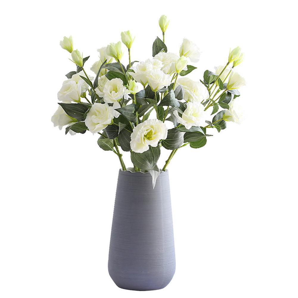 4 flores artificiales de seda de gama alta de plástico Eustoma ramillete de boda decorativo seco