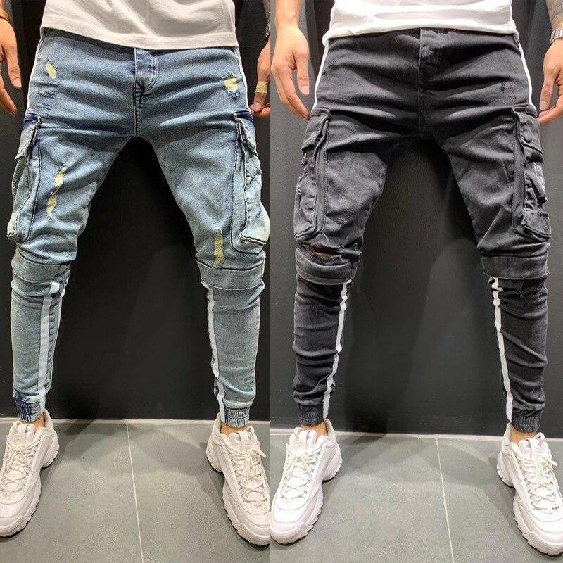 Джинсы мужские Стрейчевые в стиле пэчворк, модные джинсы выше колена в стиле хип-хоп, комбинезон со множеством карманов, свободные джинсы с ...