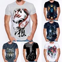 New Cool Wolf 3D Printed T Shirt Summer Men Animals Tshirt Unisex Short Sleeves T-shirt Streetwear H
