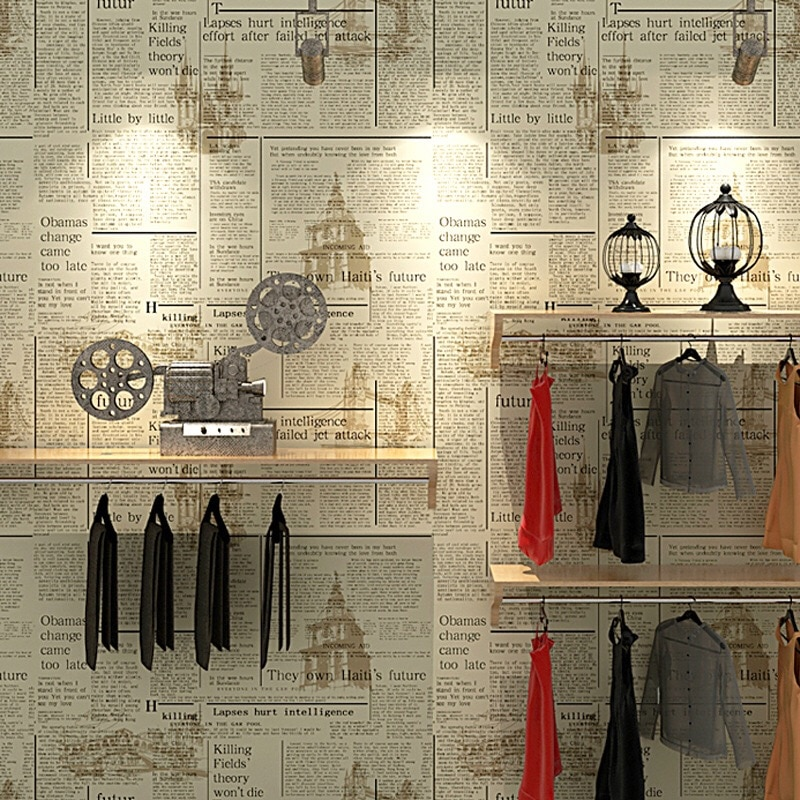 Фото - Vintage Newspaper Wallpaper Retro Clothes Store English Wall paper for Living Room Wall Decor Industrial Home Wall Sticker vintage newspaper