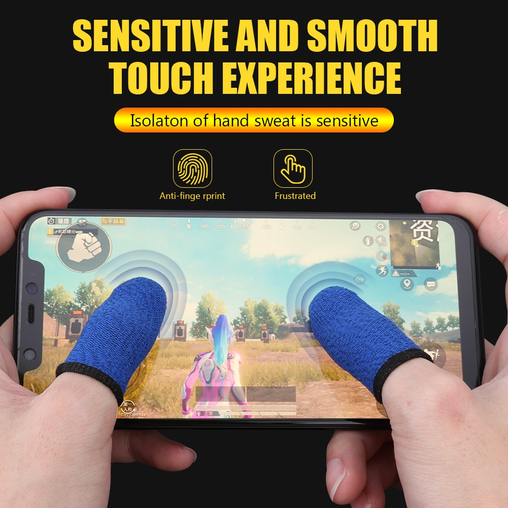 1/2Pair Breathable Sweat-proof Professional Touch Screen Thumbs Finger Sleeve for Pubg Mobile Phone