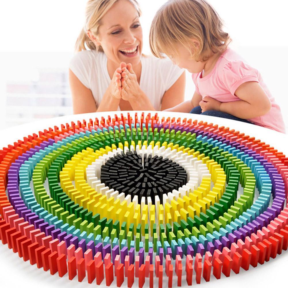 120 Pçs/set Domino Brinquedos Coloridos Blocos de Dominó De Madeira Crianças Jogo Brinquedo para Crianças de Aprendizagem Precoce Educacional Jogos