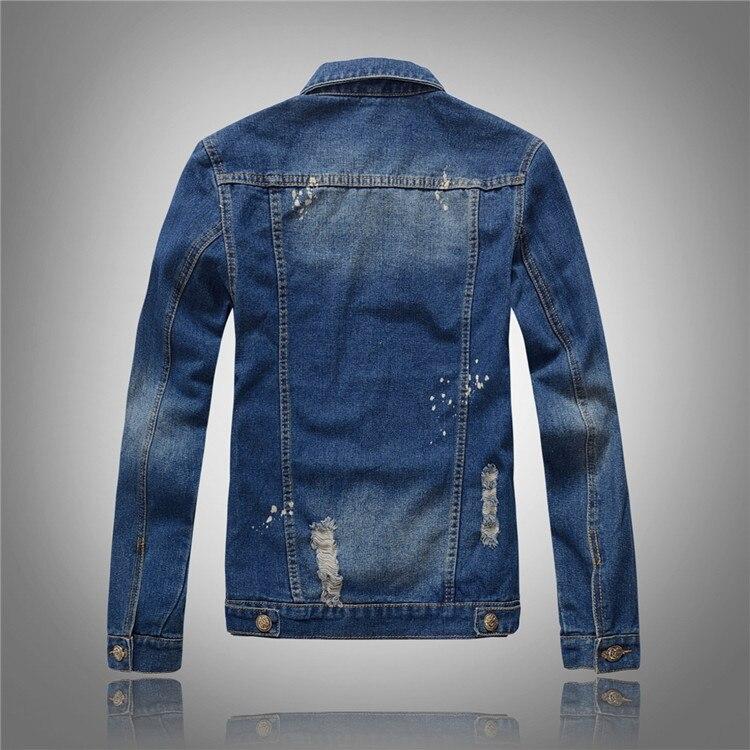 Denim Outwear Hip Hop Retro Jeans Coats Male  Cowboy Slim Bomber Jacket Hole Spring Autumn Denim Jackets Mens New Trendy Fashion