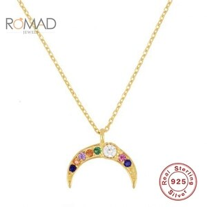 ROMAD Necklace For Women 925 Sterling Silver Jewelry  European And American Colored Zirconia Moon Pendant Necklace Bijoux Femme