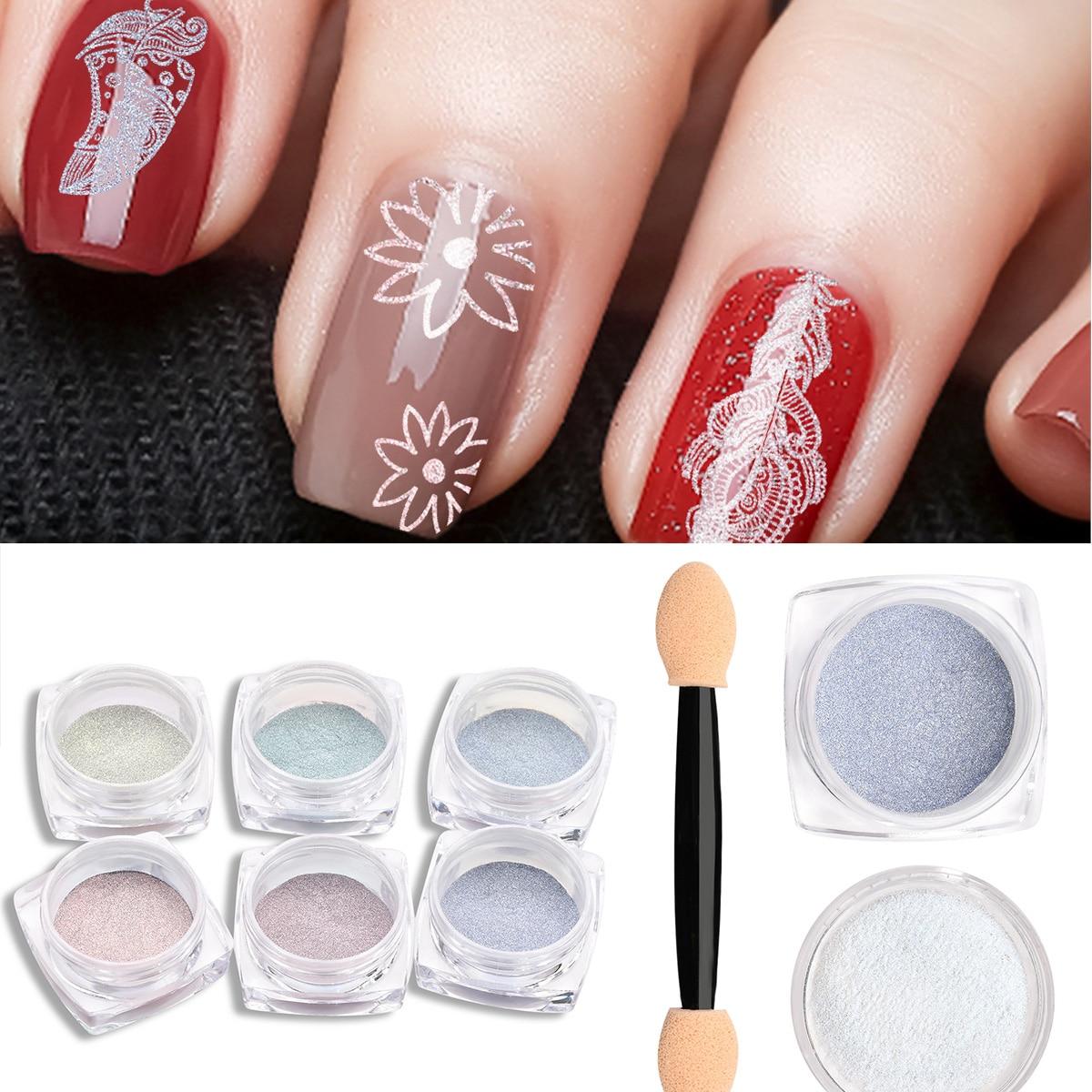 BeautyBigBang 0,2g brillo de uñas sirena perla pigmento brillante láser Shell Glimmer Nail Art polvo holográfico manicura