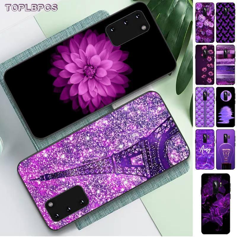 TOPLBPCS amor Purple Glitter lujo único teléfono cubierta para Samsung S 4 6 7 5 8 9 10 20 plus lite edge S10 5G