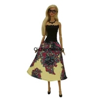 11 5 fashion black yellow off shoulder princess dress for barbie doll clothes outfits 16 bjd accessory kids playhouse diy toys