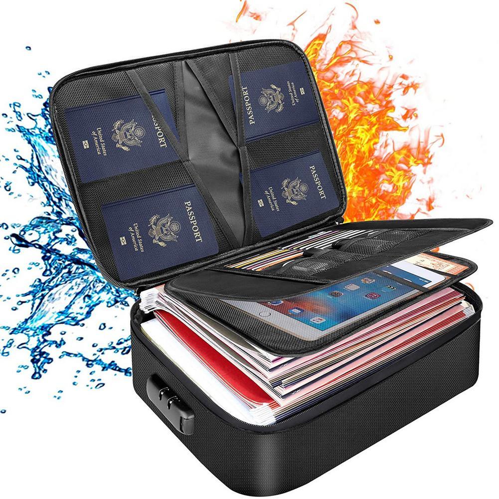 حريق و مقاوم للماء وثيقة مغلف مجلد ملفات الحقيبة النقدية المال حقيبة آمنة المحمولة صندوق تخزين السفر