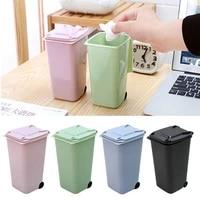 mini desktop plastic waste bins with lid household clean trash desk practical mall scissors pencil office supplies