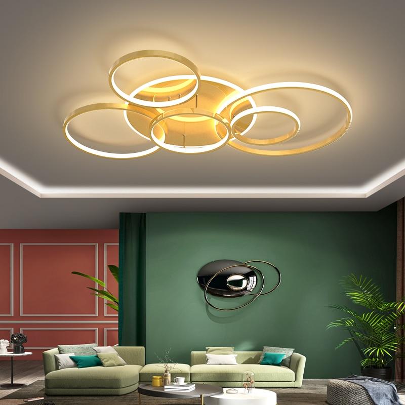 الذهب الأسود دائرة الحديثة LED أضواء الثريا لغرفة المعيشة دراسة عكس الضوء مصابيح داخلي بهو Lustres lambadario الإنارة