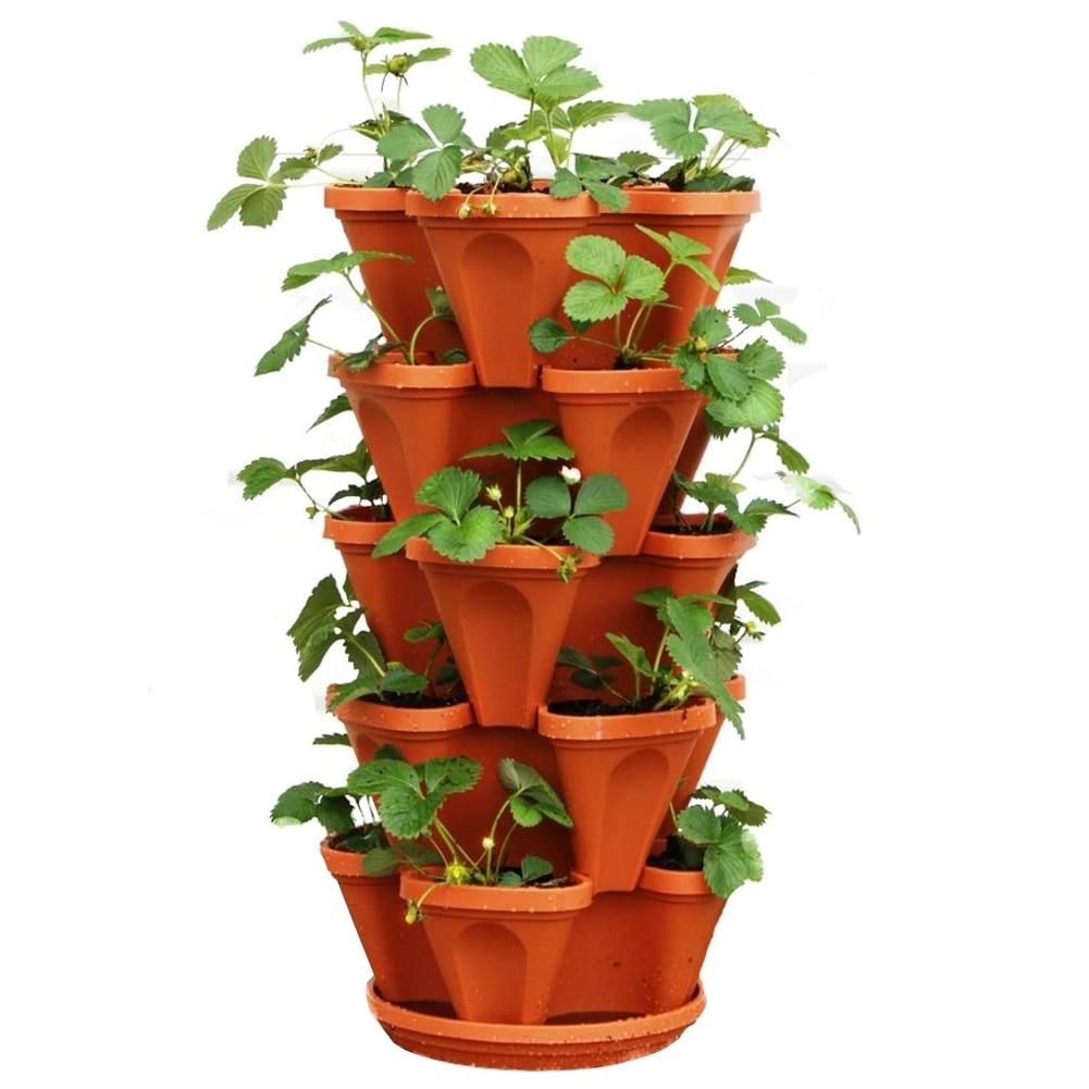 Flowepot 1 Set Of 6pcs Multilayer Stacking Cultivation Pot Vegetable Melon Fruit Strawberry Planting Pot Fruit Planting Pot