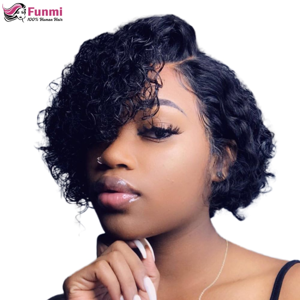 Pixie Cut Wig Short Curly Bob Human Hair Wigs For Women Pre Plucked Curly Human Hair Wig Pixie Wig Human Hair Lace Part Wig