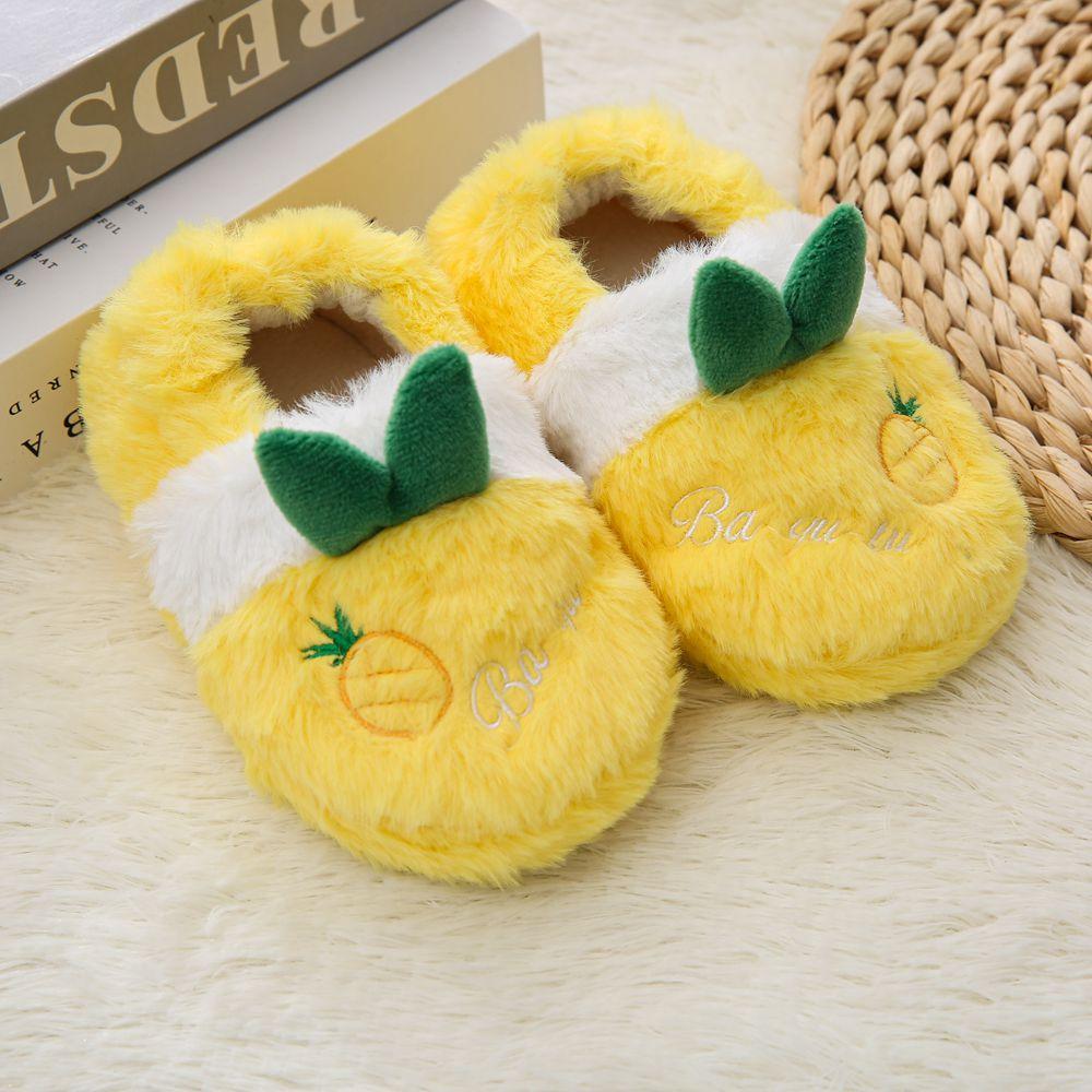 Winter Cartoon Rabbit Kids Slippers Warm Plush Yellow And Pink Boys Girls Slipper Soft Non slip Todd