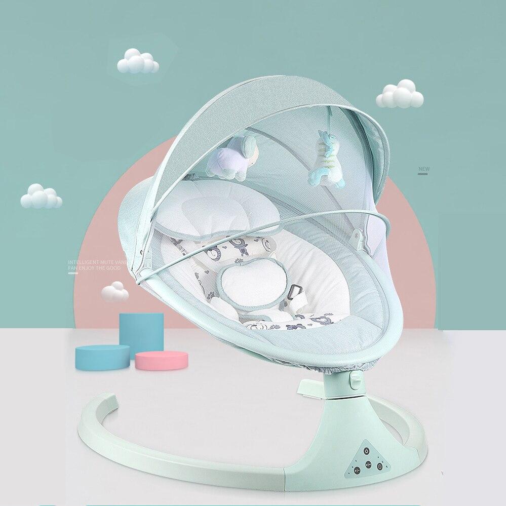 كرسي هزاز كهربائي للأطفال ، مهد لحديثي الولادة ، أرجوحة نوم هادئة مع بلوتوث وجهاز تحكم عن بعد