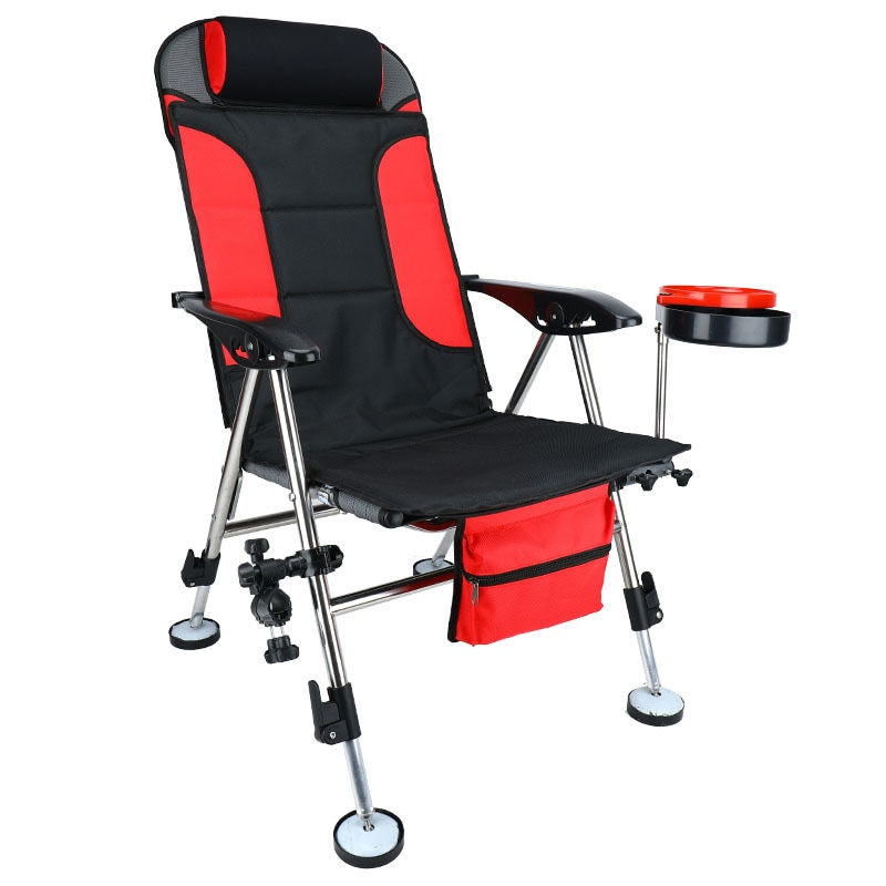 New fishing chair folding reclining chair stainless steel fishing chair wrought iron stepless lift leisure chair fishing gear