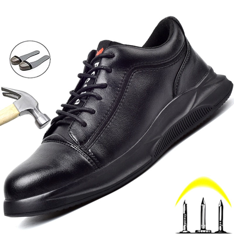 Leather Safety Shoes Men Steel Toe Shoes Anti-Smash Anti-Puncture Work Shoes Waterproof Men Shoes An