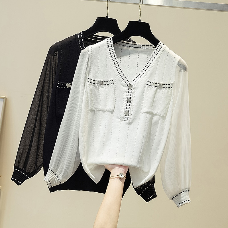 Chiffon Patchwork Long Sleeve Women Diamonds Knitted Sweater V-Neck Hollow Out Clothes 2021 Spring Tops Pullover Woman Sweaters
