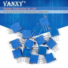 15valuesx1pcs = 15pcs 100ohm-2Mohm 0,5 w 3296 3296w resistencias variables multigiro trimmer kit de potenciómetro de precisión ajustable