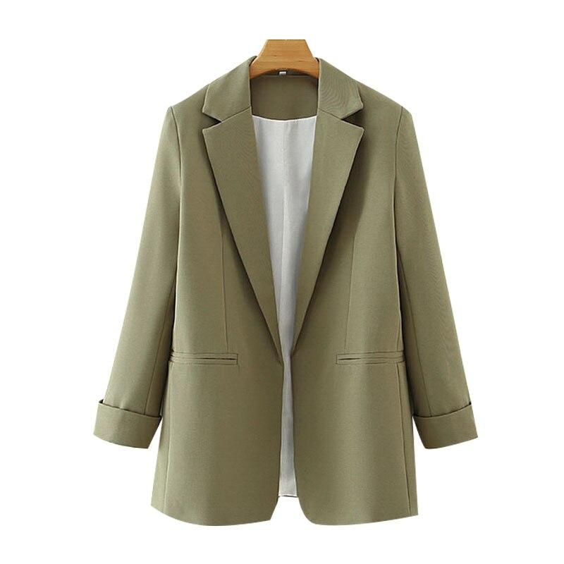 بلازير بدلة حريمي موضة ملابس المكتب الأساسية خمر جيوب كم طويل أنثى 2021 ملابس خارجية جديدة أنيقة بلايز