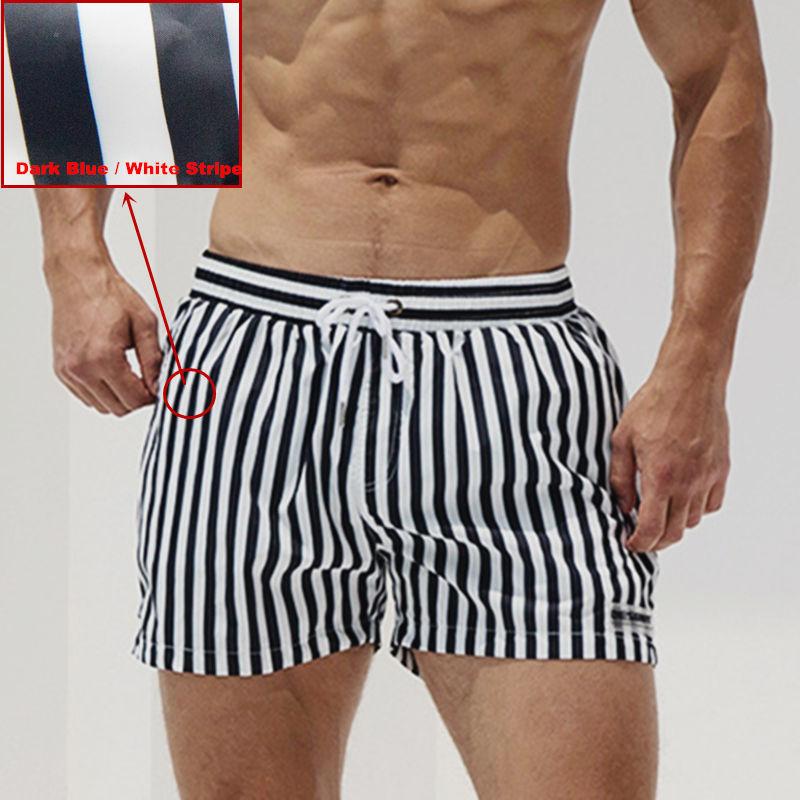 Desmiit Men's sport running beach Short Swimming Shorts Men Swimming Trunks Plus Size Striped Quick Dry Surfing Shorts