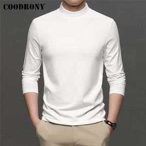 COODRONY Brand Spring Autumn New Arrival All-Match Fashion Casual Pure Color Stand Collar Long Sleeve T-Shirt Men Clothing C5049