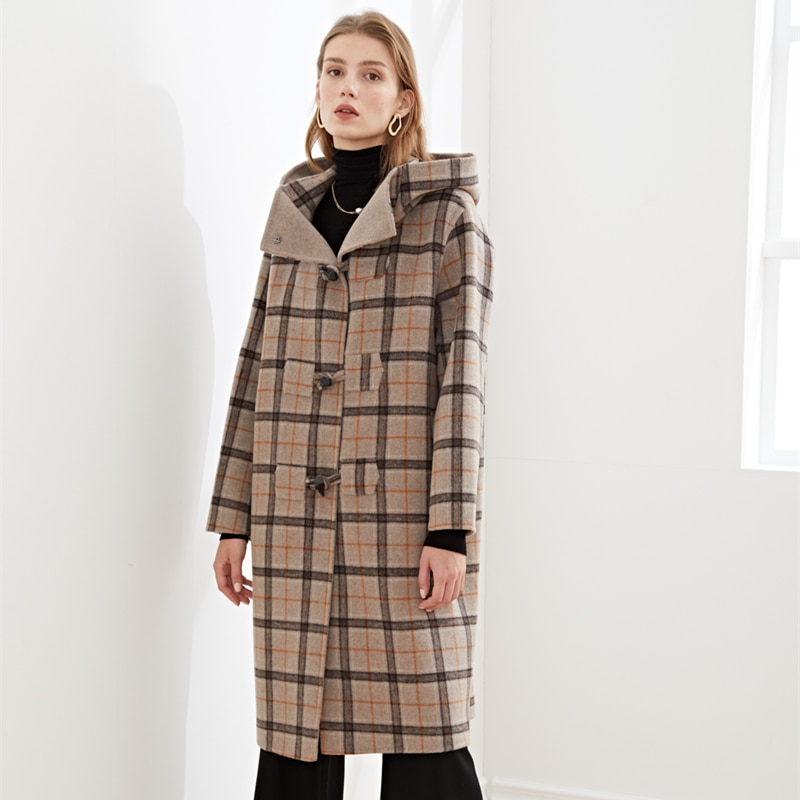 Winter 2020 Women's Medium And Long College Style Check Hooded Ox Horn Button Wool Coat Double Faced Tweed Coat snap button hooded drop shoulder wool blend coat