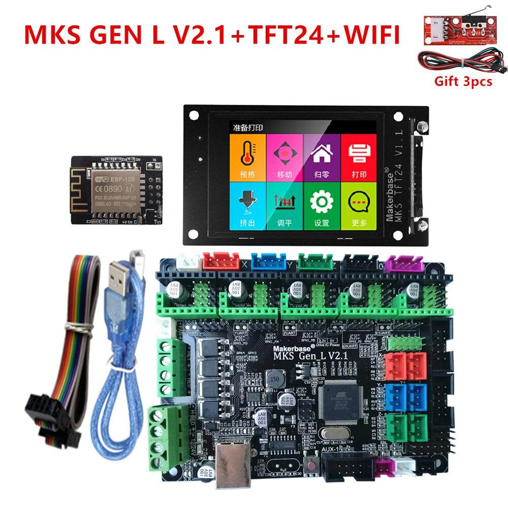 MKS GEN-L 2.1 اللوحة MKS TFT24 اللمس شاشة TFT 2.4 lcd عرض MKS WIFI 3D طابعة درع التحكم لوحة diy كاتب كيت