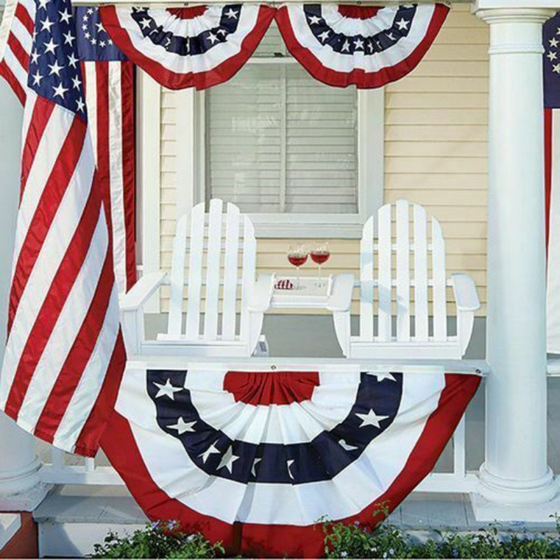 Embroidered Wrinkle Fan Shape National Flag For American Independence Day Home Decor pleated bunting half of flag