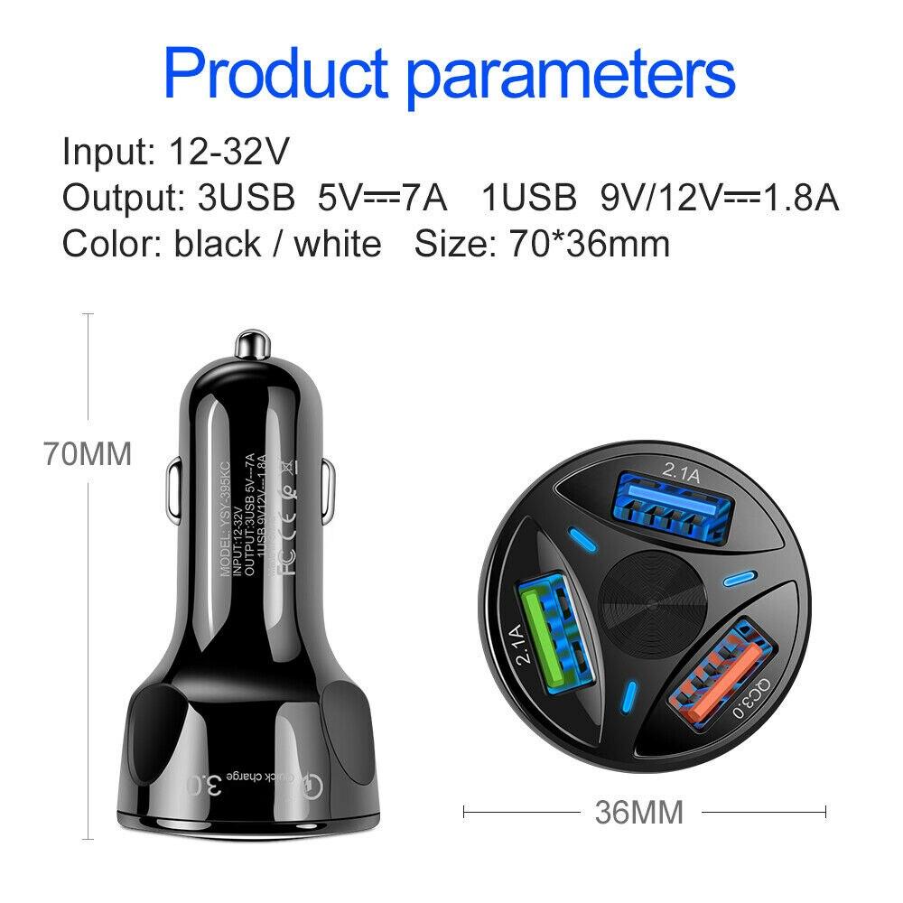 3 USB Auto Ladegerät 3 Port 12-32V Zigarette Buchse Leichter QC 3,0 Schnelle Auto Ladegerät Power Adapter auto Styling Innen Teile