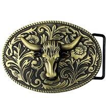 أرابيسك بقرة الثور خمر لونغهورن الجاموس رئيس الرجال حزام جلد مشبك معدني كاوبوي 9.0x7.0 سنتيمتر