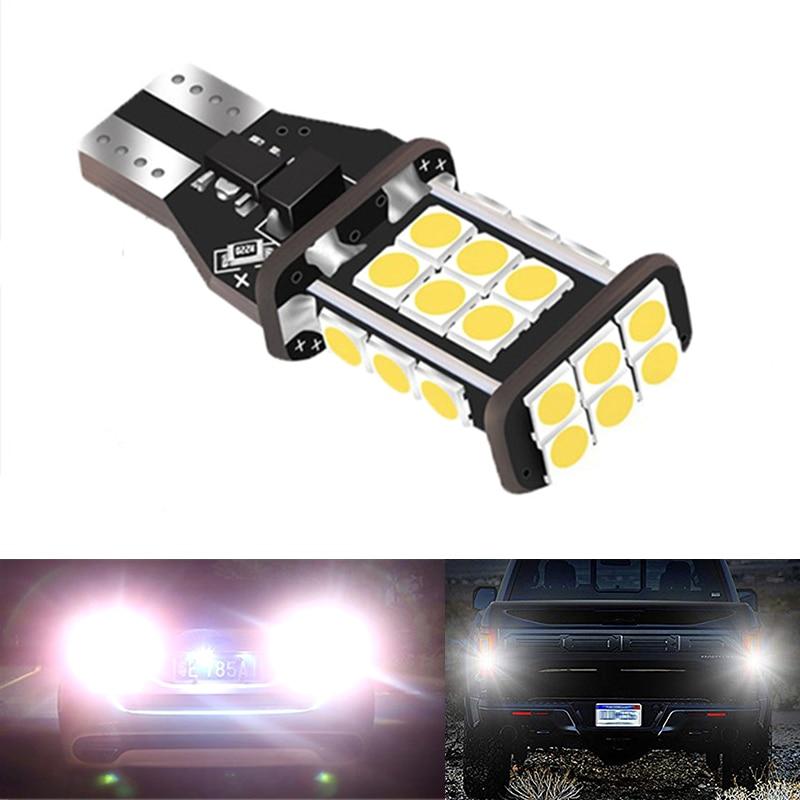 2 pçs t15 w16w super brilhante 1200lm 3030 24smd canbus reserva carro luzes bulbo lâmpada de cauda xenon branco Lâmpada de sinal    -