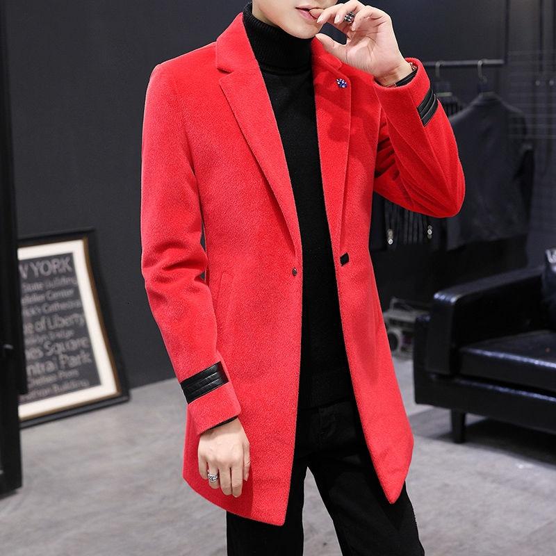 Cortavientos largo y delgado para hombre, de estilo británico abrigo de lana,...