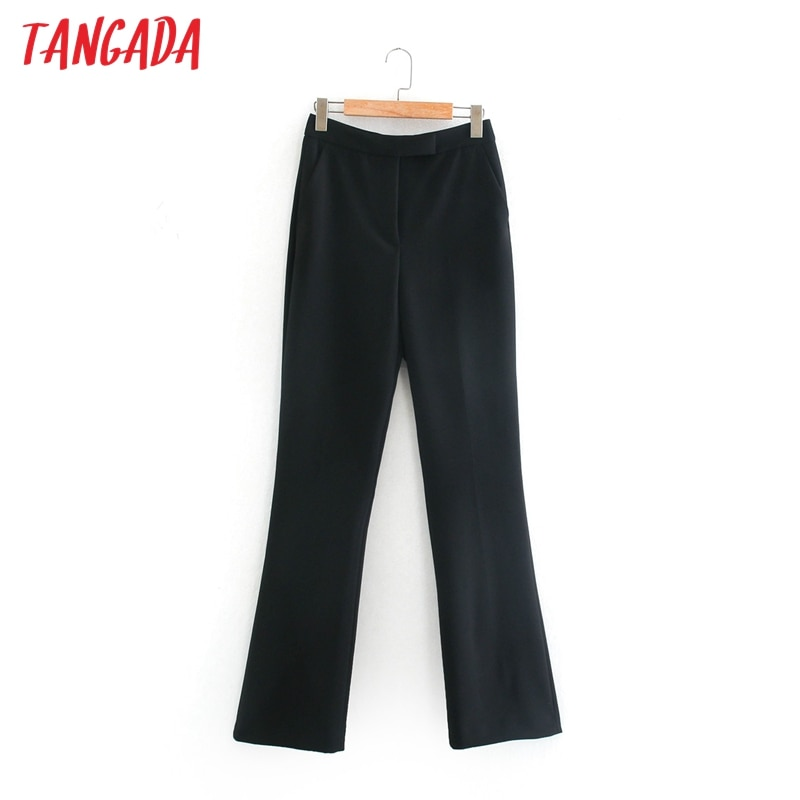 Tangada Mode Frauen Hohe Taille Breite Bein Anzug Hosen Hosen Tasten Büro Dame Hosen Pantalon 2XN30