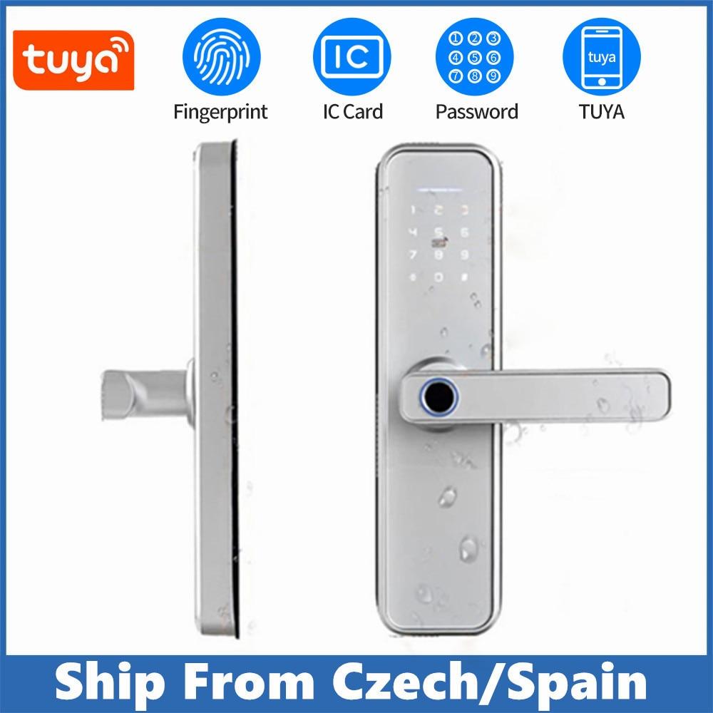 Promo Waterproof Wifi Electronic Door Lock With Tuya APP Remotely / Biometric Fingerprint / Smart Card / Password / Key Unlock