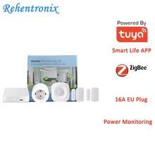 Tuya Smart Home ZigBee Hub PIR Motion Detector Door Sensor EU Type 16A Power Energy Smart Monitoring Kit
