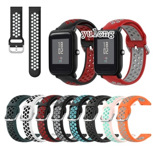 20mm 22mm Sport Silicone Breathable Strap For Huami Amazfit Bip Lite S U for Amazfit GTS 2 /GTS2 mini Smart Watch Wristband