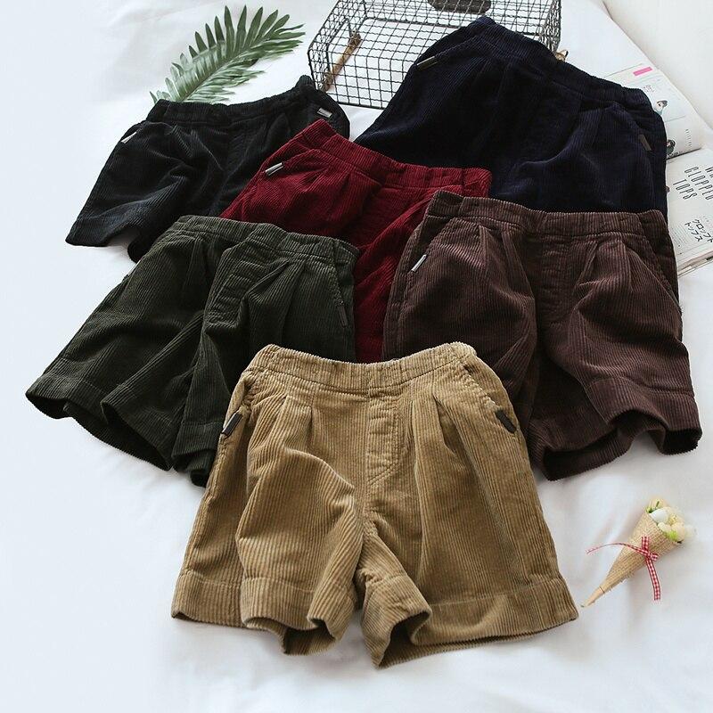 Pantalones cortos de pana para mujer, de invierno, sueltos, informales, Vintage, de satén, de cintura alta, pantalones cortos caqui de verano para mujer, pantalones cortos de pana