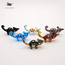 6pcs Colorful handmade Murano glass cat ornaments Home Fairy garden decorative Figurines Miniature Pets Animals glass statues